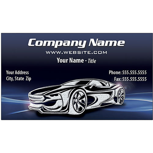 Auto Repair Business Cards with Foil - Silver Holographic - Design 2