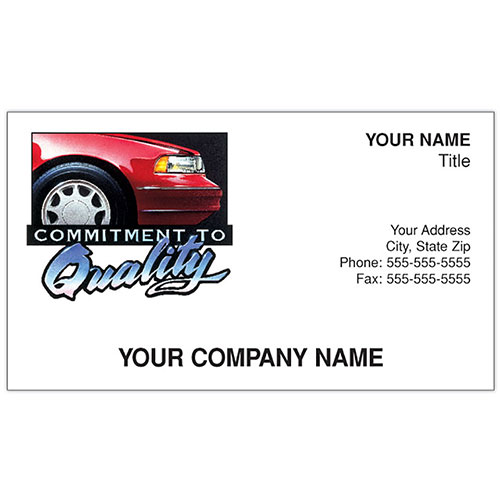 Auto Repair Business Cards - Commitment to Quality