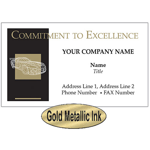 UPDATED - Auto Repair Business Cards - Black & Gold Wireframe