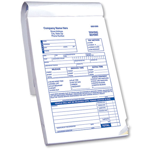 towing report book with checklist