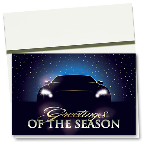 Clearance - Personalized Premium Foil Holiday Cards - Twilight Rider