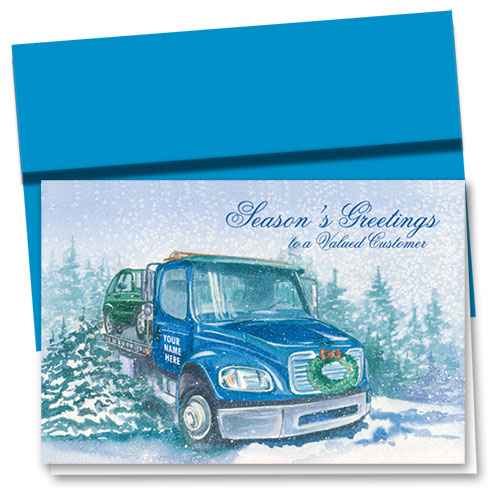 Double Personalized Full-Color Holiday Cards - Holiday Tow Truck