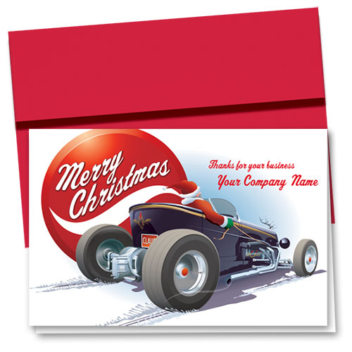 Double Personalized Full-Color Holiday Cards - Holiday Hot Rod