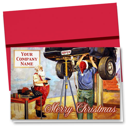 Double Personalized Full-Color Holiday Cards - Santa's Mechanic