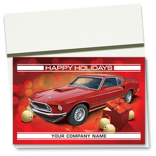 Double Personalized Full-Color Holiday Cards - Holiday Mustang