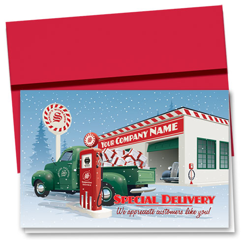 Double Personalized Full-Color Holiday Cards - Service Station