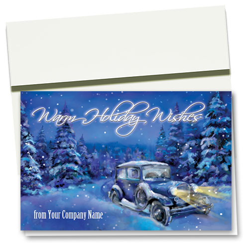 Double Personalized Full-Color Holiday Cards - Nostalgic Night