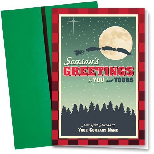 Double Personalized Full-Color Holiday Cards - Christmas Flannel