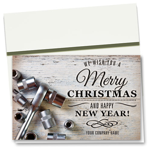 Double Personalized Full-Color Holiday Cards - Rustic Repair