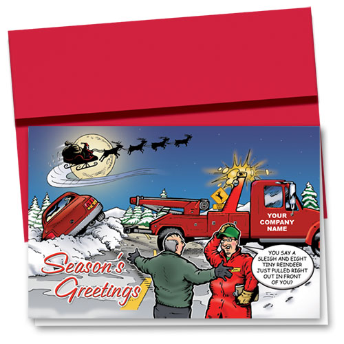 Double Personalized Full-Color Holiday Cards - Christmas Tow
