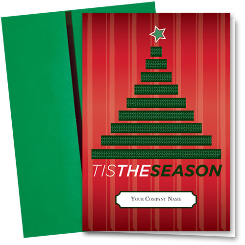 Double Personalized Full-Color Holiday Cards - Tree Tracks