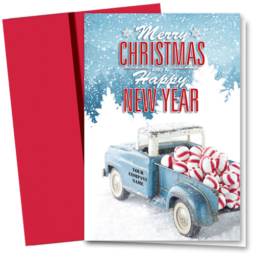 Double Personalized Full-Color Holiday Cards - Peppermint Classic