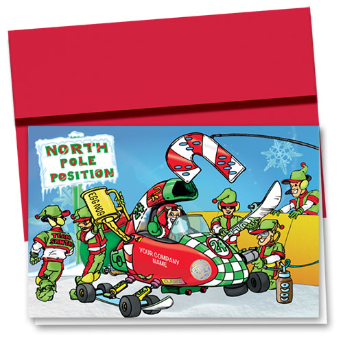 Double Personalized Full-Color Holiday Cards - Team Santa