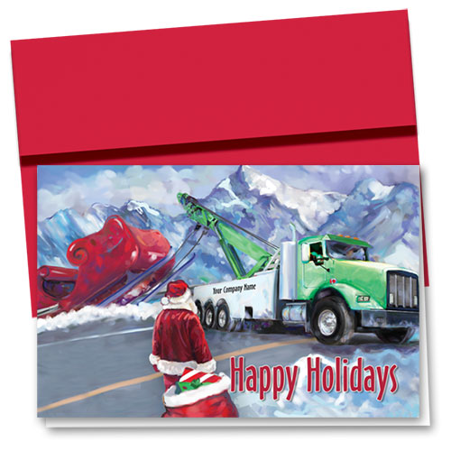 Double Personalized Full-Color Holiday Cards - Santa's Tow