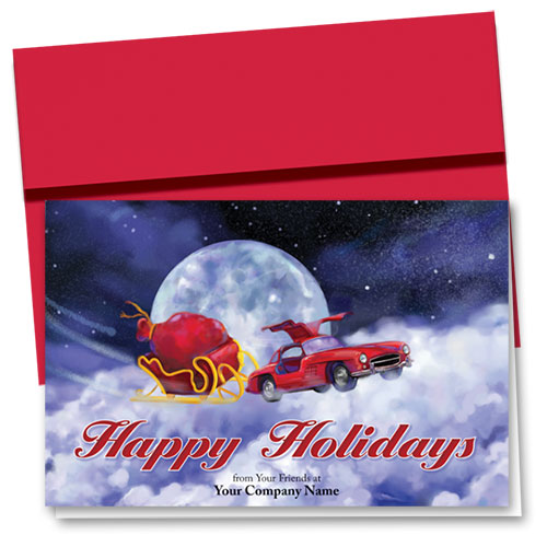 Double Personalized Full-Color Holiday Cards - Vintage Flight