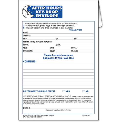 After Hours Key Drop Envelopes - Auto Body