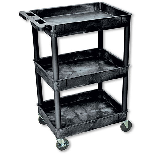 Black Plastic Utility Cart – 3 Shelves