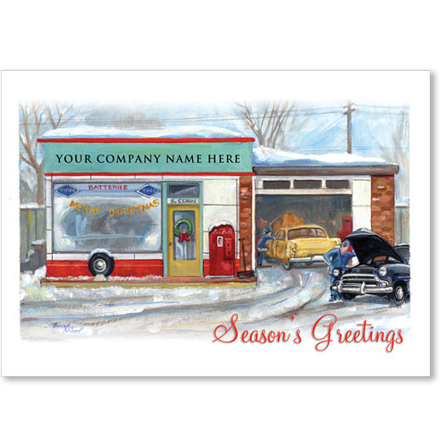 Double Personalized Full-Color Holiday Postcard - Nostalgic Repair Shop