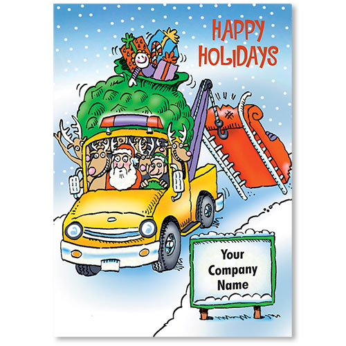 Double Personalized Full-Color Holiday Postcard - Saving Santa