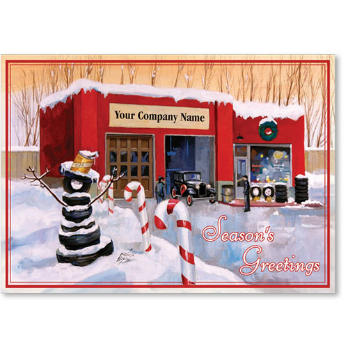 Double Personalized Full-Color Holiday Postcard - CandyCane Shop