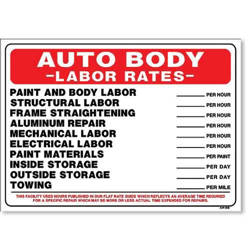 Sign Auto Body Labor Rates Shop Signs Collision Services