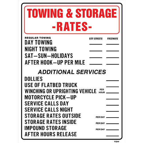 Auto Shop Signs - Tow & Storage Rates