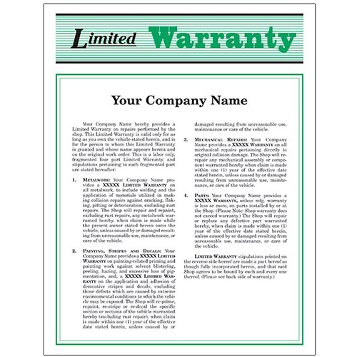 Auto Repair Warranty Forms - Green