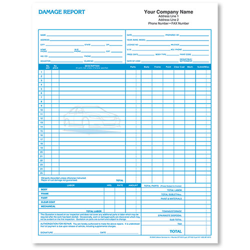 Basic Auto Repair Estimate Forms - Damage Report, 2-Part, 2-Color