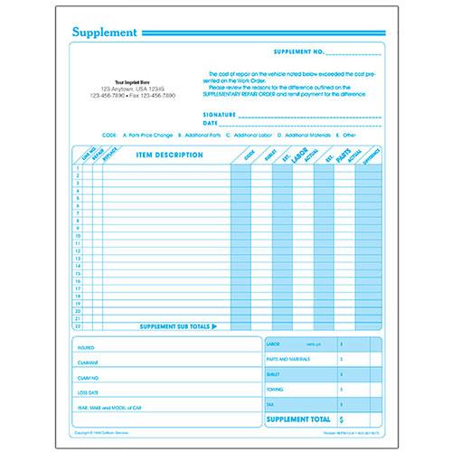Auto Repair Supplement Request Forms