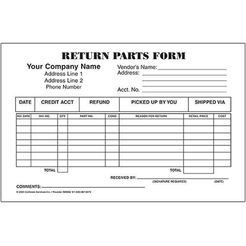 3 Part Return Parts Form Auto Shop Forms