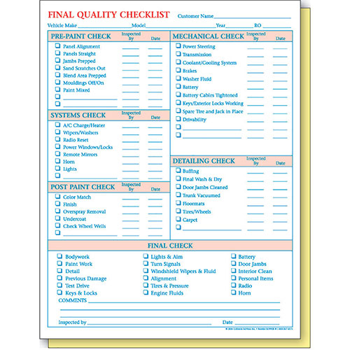 Quality Checklist Form Automotive Forms Auto Supply