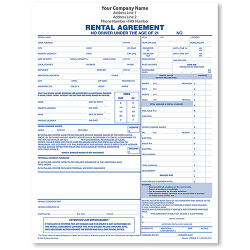 Rental Agreement Form, 3-Part - (250)