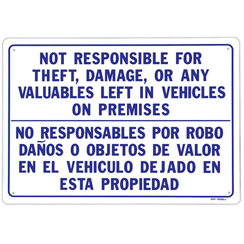 "Auto Shop Sign - Not Responsible- 20"" x 14"""