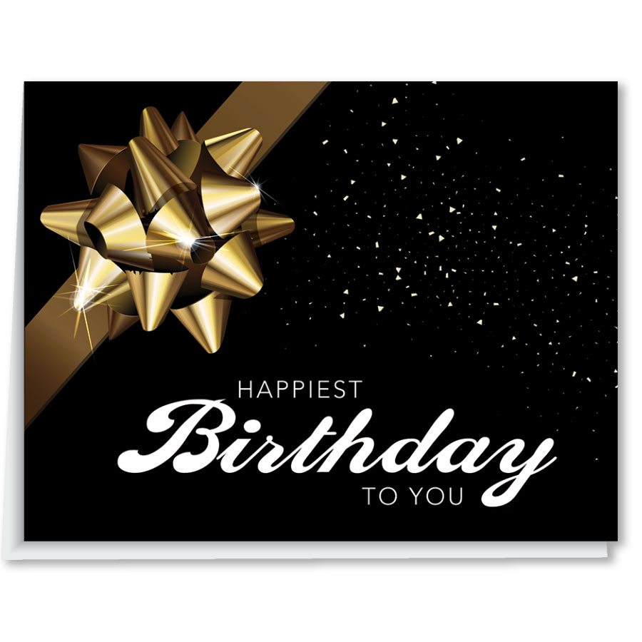 Black Auto Body Birthday Card with Gold Bow