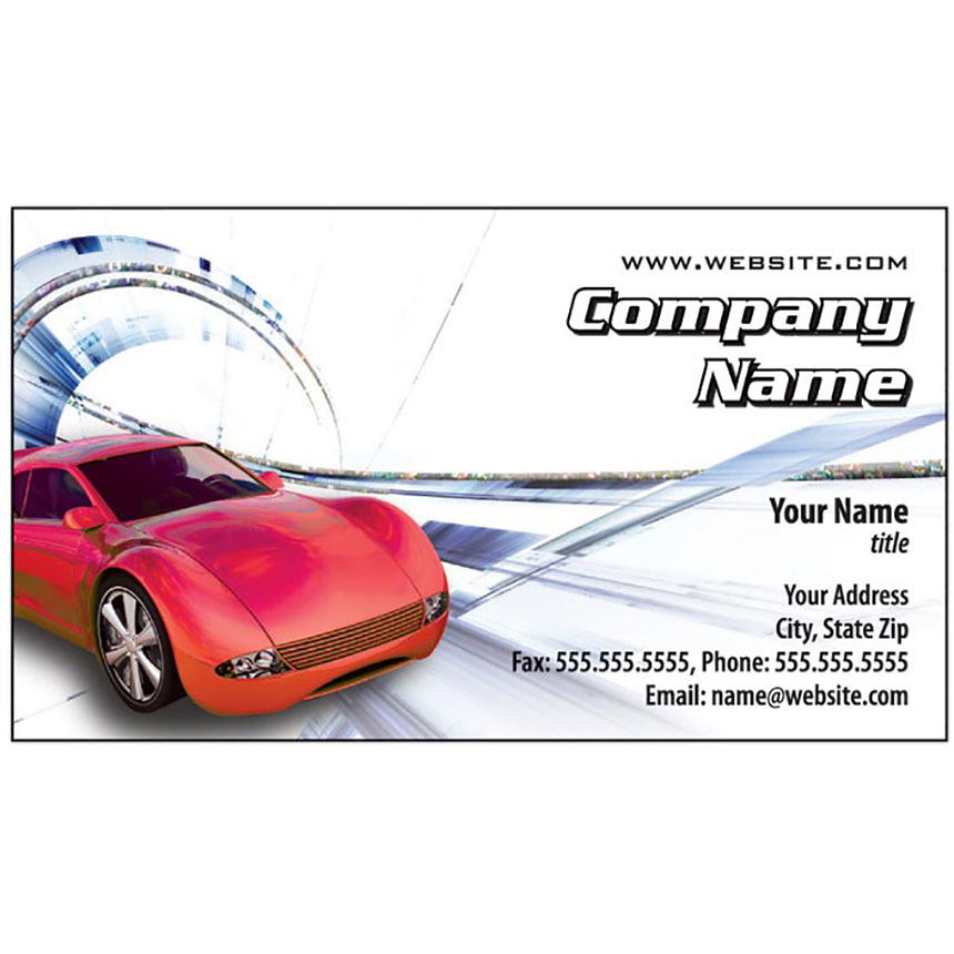 Auto Repair Business Cards with Foil - Speed Racer Swirl, Silver Holographic