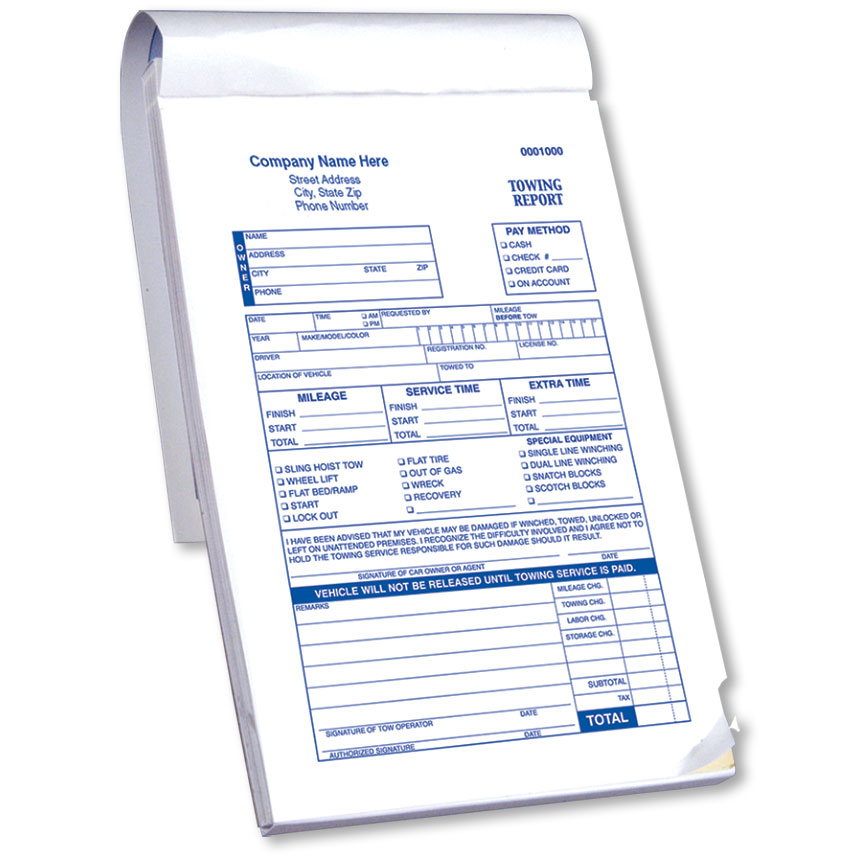 Towing Report Book with Checklist - 2-Part Carbonless