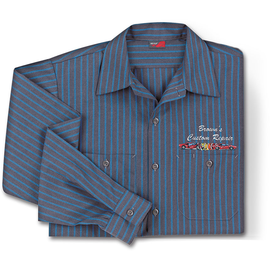 RedKap Work Shirt LS Industrial with Stripes