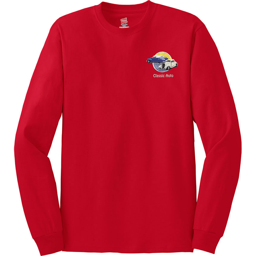 Embroidered Hanes Long Sleeve Tee Tagless 100% Cotton