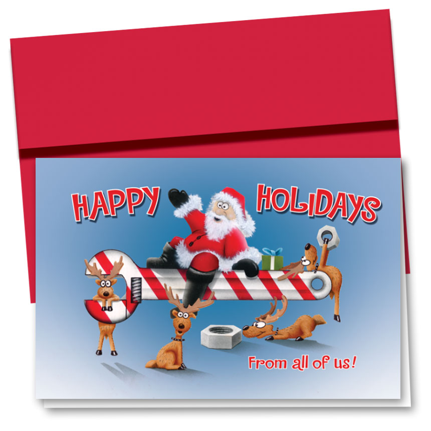 Personalized Deluxe Full-Color Holiday Cards - Santa's Wrench