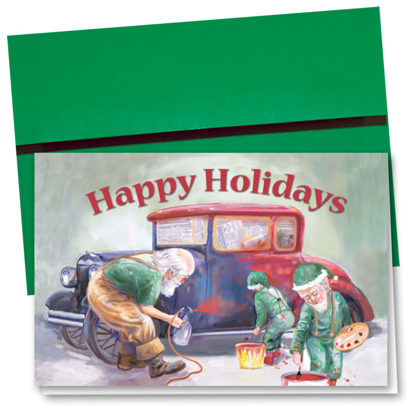Personalized Deluxe Full-Color Holiday Cards - Santa's Paint Job