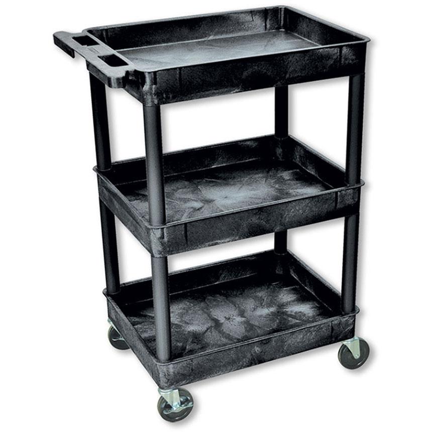 Black Plastic Utility Cart – 3 Shelves