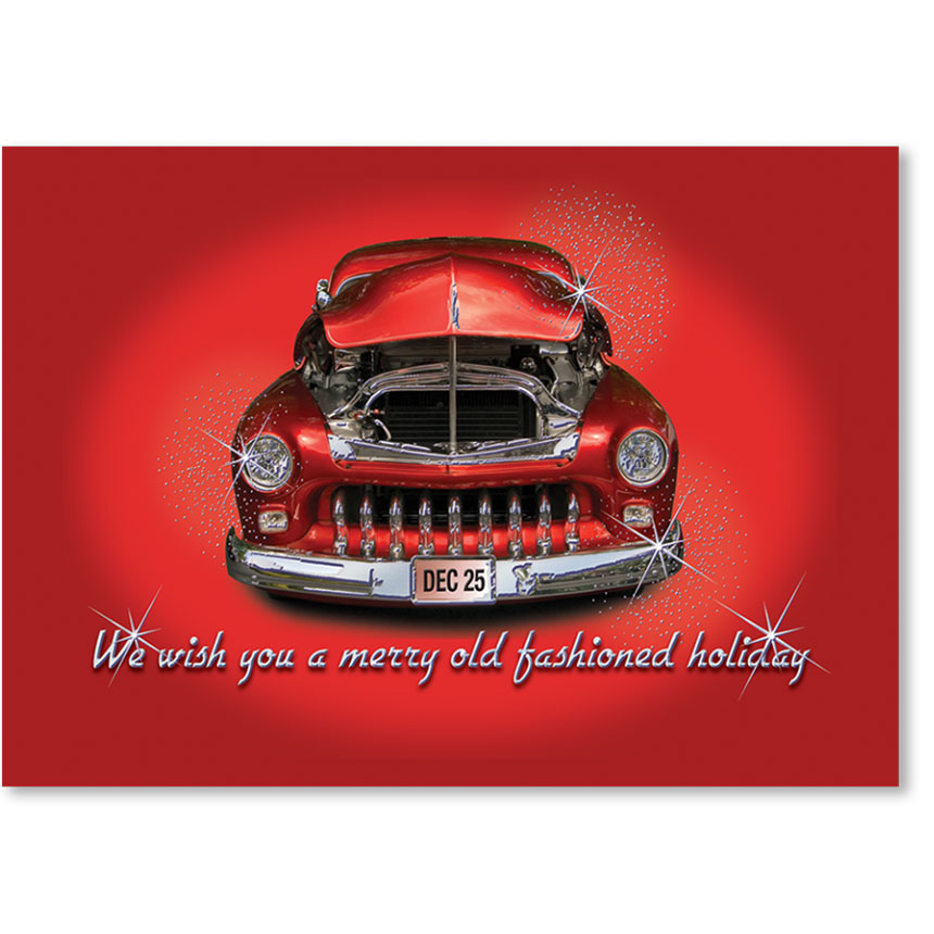 Personalized Full-Color Holiday Postcard - Sparkling Chrome