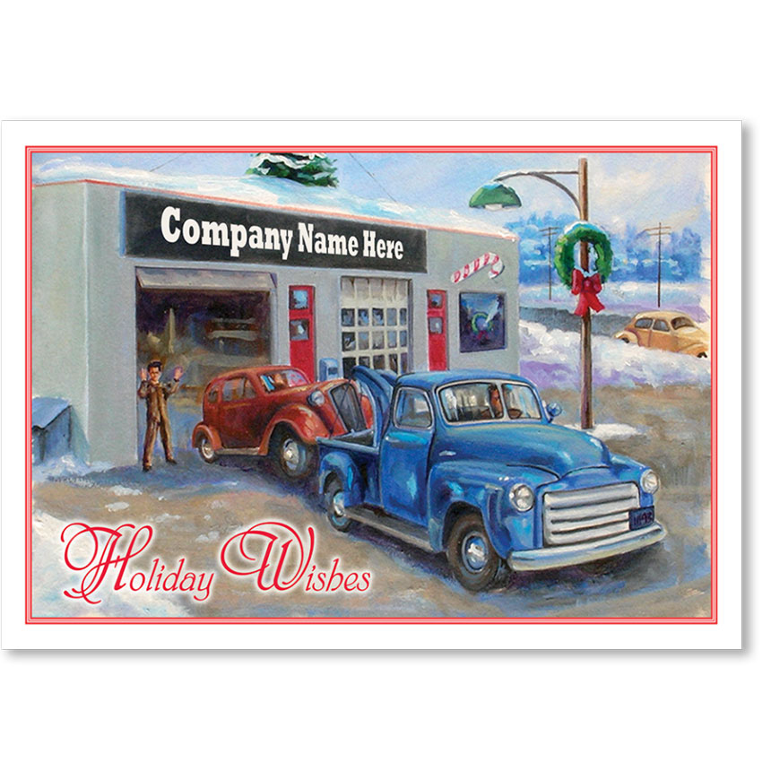 Double Personalized Full-Color Holiday Postcard - Old Fashioned Service