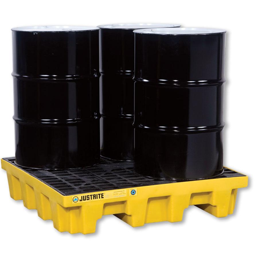 Justrite EcoPolyBelend™ 4-Drum Spill Control Pallet 28636