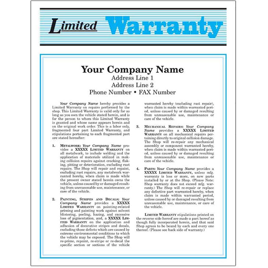 Auto Repair Warranty Forms - Blue, 2-Part (250)