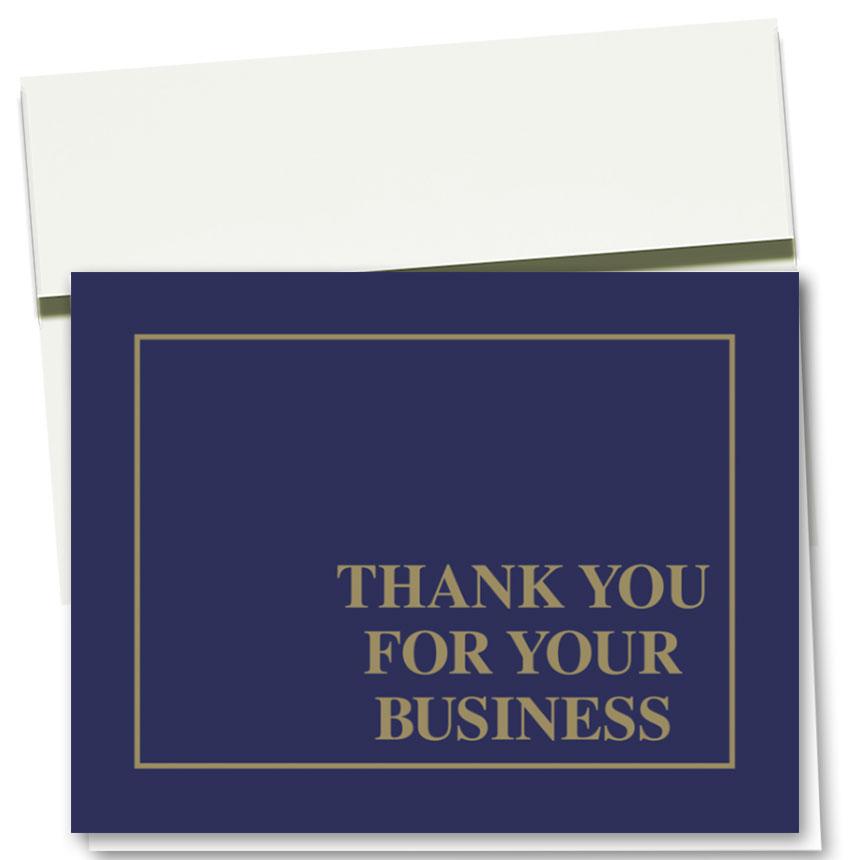 Auto Repair Thank You Postcards - Linen Blue & Gold, Business