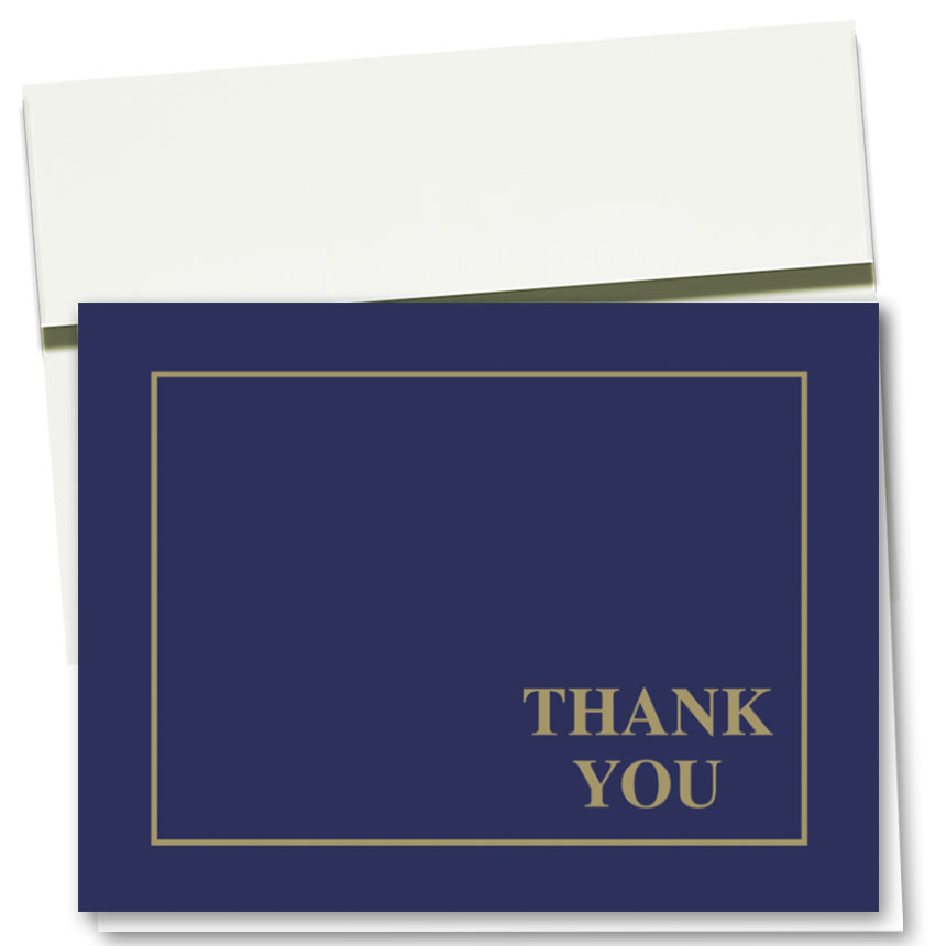 Auto Repair Thank You Cards - Linen Blue & Gold