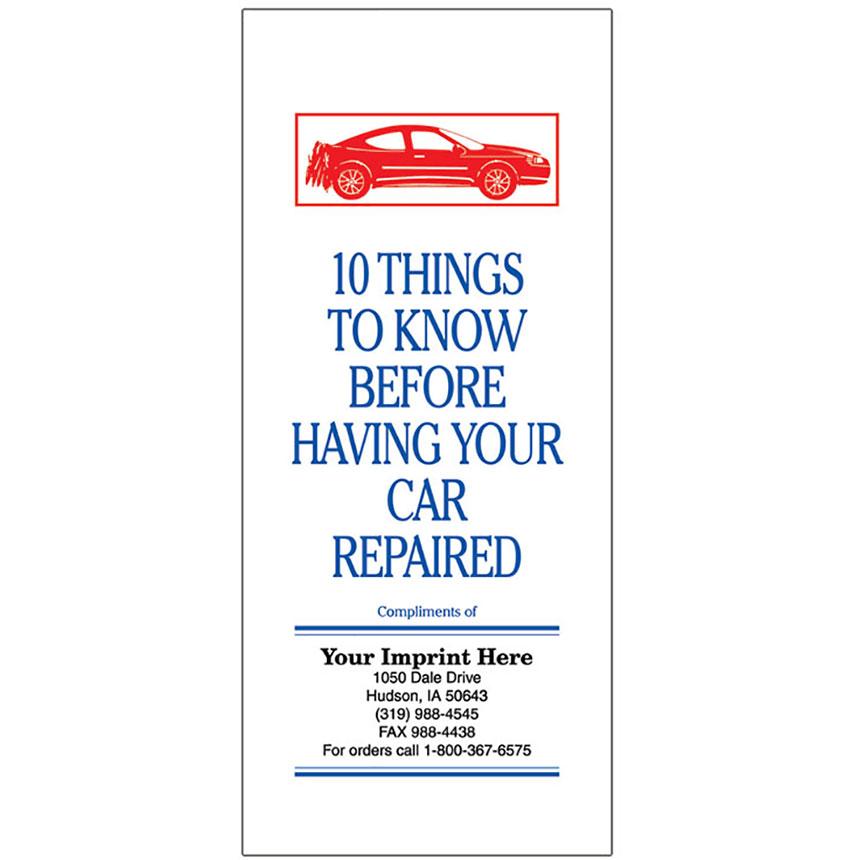 """Auto Repair Brochures - """"10 Things To Know"""" (red, white, blue)"""