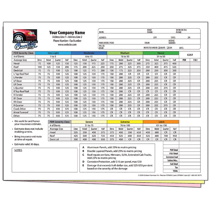 Auto Repair Estimate Forms For Pdr 3 Part Full Color