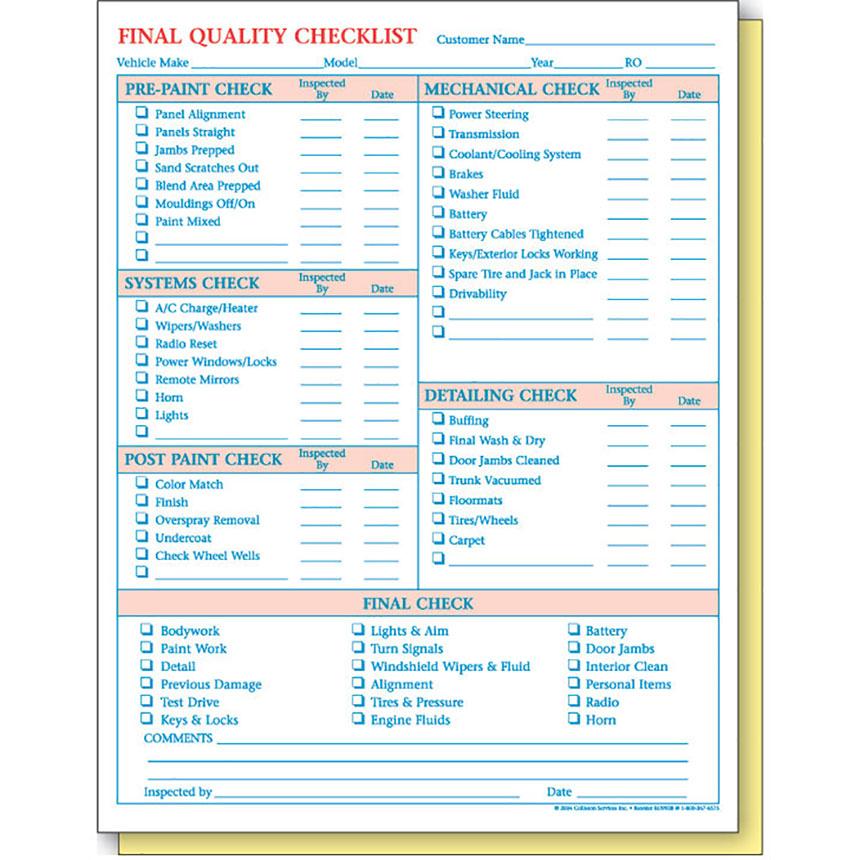 Quality Checklist Form